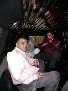 Rich in Lefty Perez\'s limo on the way to Calle Ocho 2008